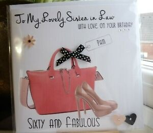 Handmade Personalised Female Bag and Shoes Birthday Card 30th 40th 50th 60th