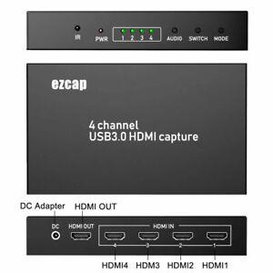 4 CH HDMI Video Capture Card 1080P HD Video Recorder Live Streaming Mac Windows
