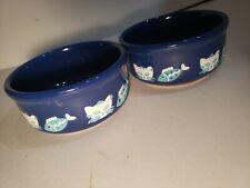 Ceramic Cat Dish Set set of two blue cat dishes