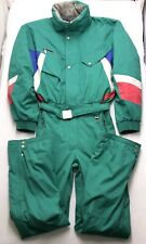 "Pr139 Vtg Killy Green & Neon Pink Color Block Snow Ski Suit 40 Med-Sm 31"" Inseam"
