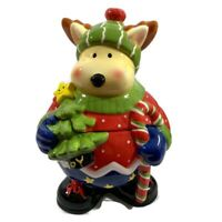 Reindeer Ceramic Cookie Jar Christmas Tree Smiling Star Candy Cane with Box