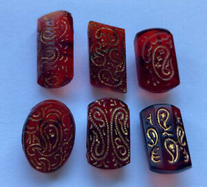 Antique Vintage Lot Of 6 Ruby Red Glass Buttons With Gold Luster Paisley Designs