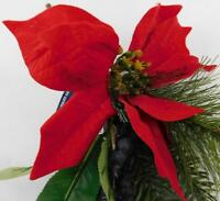 Ashland Christmas Tree Pick Red Flowers Poinsettias Blue Berries New  A