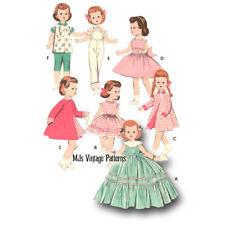 """Vtg Toddler Doll Clothes Pattern Formal Dress, Coat, Overalls ~ 14"""" Saucy Walker"""