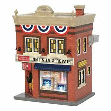 Department 56 Snow Village Neil's TV & Repair (6003136)