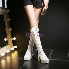 Ladies Punk Lace Up Platform Chunky Heel Knee High Knight Boots Round Toes White