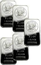 Lot of 5 Sunshine Minting, Inc. 1 Troy oz. .999 Fine Silver Bar SKU33421
