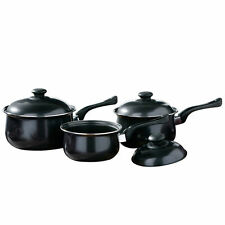 3pc Non Stick Cookware Set With Lid Kitchen Pan Pot Saucepan Black