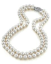 Japanese Akoya White Pearl Double Strand Necklace- Various Sizes