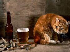 Ginger Cat Pescados Y Cerveza Lager Foto impresión arte cartel Imagen bmp636a