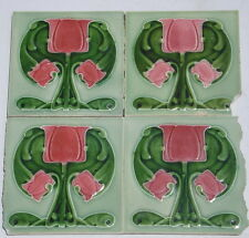 Art Nouveau ceramic lot of 4 coral pink  majolica tiles exquisite for framing