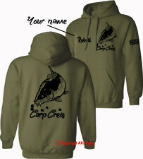 Personalised Carp Crew Hoodie big carp fishing angling mens HOODIES xmas gift