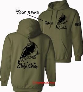Personalised Carp Crew Hoodie big carp fishing angling mens HOODIES xmas gift