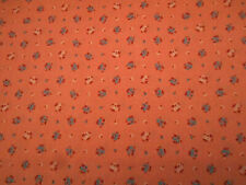 Civil War Reproduction Fabric 1 Yard Blue Ivory Wine Floral Dusty Pink Cotton