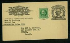 1Cuba 1933 Uprated 1c Marti Postal Card Salamanca to Canada franked Scott 304