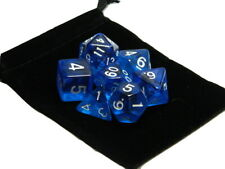 Wiz Dice 7 Die Polyhedral Set Translucent Blue RPG DnD Dice With Dice Bag