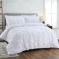 PINCH PLEATED PINTUCK DUVET COVER SET LUXURY PERCALE EGYPTIAN COTTON BEDDING SET