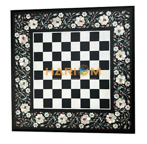"""15"""" Square Black Marble Chess Side Table Top Mother of Pearl Inlay Decor B097"""