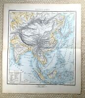 1882 Antik Map Of Die Fern East Asien Orient Physikalisch Deutsche 19th Century
