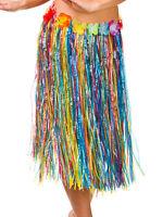 Adult Coloured Hawaiian Summer Grass Fancy Dress Party Hula Skirt 60cm Long