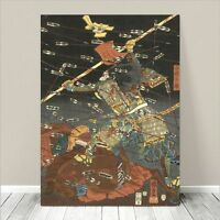 "Vintage Japanese SAMURAI Warrior Art CANVAS PRINT 36x24"" Kuniyoshi Battle #233"