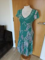 Ladies PER UNA Dress Size 10 Teal Smart Chiffon Party Tea Day