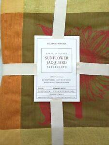 "Williams-Sonoma SunFlower Jacquard tablecloth 70x108"""