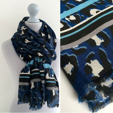 Large Leopard Print Scarf Blue with Black Grey Striped Animal Big Long Cotton