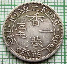 HONG KONG QUEEN VICTORIA 1900 H 10 CENTS, SILVER, microscratches