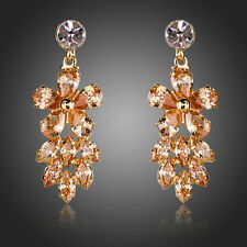 New Sparkly Shiny Champagne Gold Plated Luxury Zircon Flower Women Drop Earrings