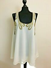 TOPSHOP Ladies Sheer Tunic Top Blouse Size 10 Chiffon Party White Gold Evening