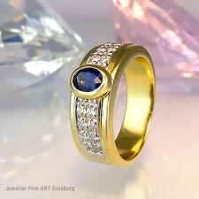 Ring in 750/- GG glänzend mit 16 Diam. ca. 0,16 ct., 1 Saphir ca. 0,30 ct 3,4 gr