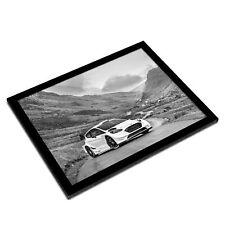 A3 Glass Frame BW - White Sports Car Driving  #35290