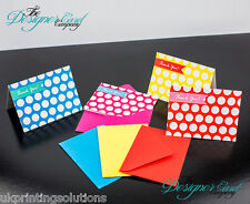 Pack of 4 Thank You Cards - Large Polka Dot Blue Red Yellow Pink Thanks Pack