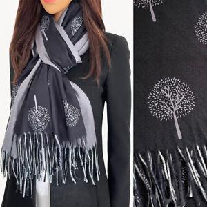 Ladies Black Wool Scarf Tree of Life Pashmina Shawl Wrap Winter Long Large Warm