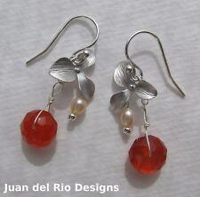 orange-rote Karneol Zuchtperlen Ohrringe Ohrhänger Blume Orchidee 925 Silber