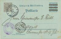 "WÜRTTEMBERG ""STUTTGART / BAHNHOF 1"" K1 3 Pf a. 2 Pf Kab.-Ah.-GA-Dienstpostkarte"