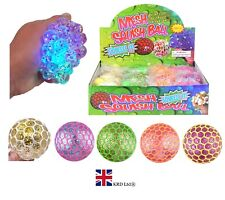 SQUISHY LED MESH GLITTER BEADS BALL Squeeze Stress Relief Kids Toy Gift 51504 UK