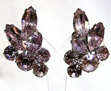 Vintage Bridal Prom Lavender Rhinestone Earrings Clip On Style Silver Tone 417