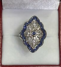 14k Solid White Gold Solitaire Ring with Natural RoundSapphire&White Stone 5.85G