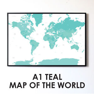 Large Teal A1 Decorative Map of the World Poster Print Boys Travel Wall Art