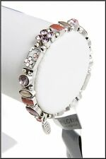 NEW PILGRIM SILVER PLATED BRACELET GEO COLLECTION SWAROVSKI CRYSTALS FLEXIBLE