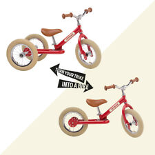 Trybike 2 in 1 Steel Tricycle Balance Bike Red Vintage Chrome Parts Cream Tyres