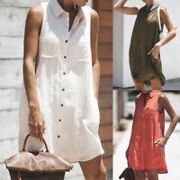 New Women Button Blouse Sleeveless Loose Summer T SHIRT Mini short Dress Tops SH