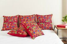 India Handmade Embroidery Print Pillow Case Floral Design Silk Cushion Cover