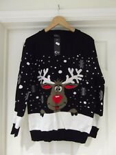 Christmas Jumper NWT Black/White Long Sleeve Reindeer Print CHIC Size Large/XL