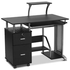 Black Computer Desk PC Laptop Table Work Station Home Office Furniture w/Cabinet
