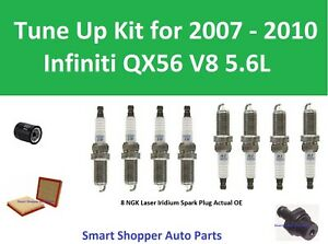 Spark Plugs, Filter toTune Up for 2007 2008 2009 2010 Infiniti QX56 V8 5.6L DOHC