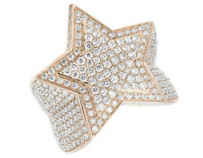 Mens Solid 14k Rose Gold Real Diamond Super Star Statement Pinky Ring 10 Ct 30mm