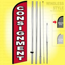 Consignment Windless Swooper Flag Kit 15 Feather Banner Sign Rf H